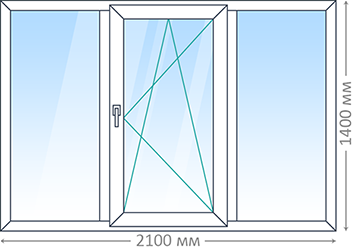 Трехпроёмное окно